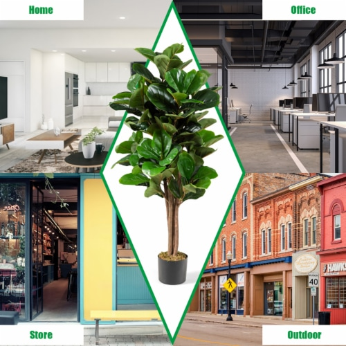Costway 4ft Artificial Fiddle Leaf Fig Tree Indoor Outdoor Office Decorative Planter Perspective: top