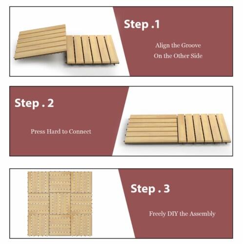 Costway 10PCS 12'' x 12'' Acacia Wood Deck Tiles Interlocking Patio Pavers Stripe Pattern Perspective: top