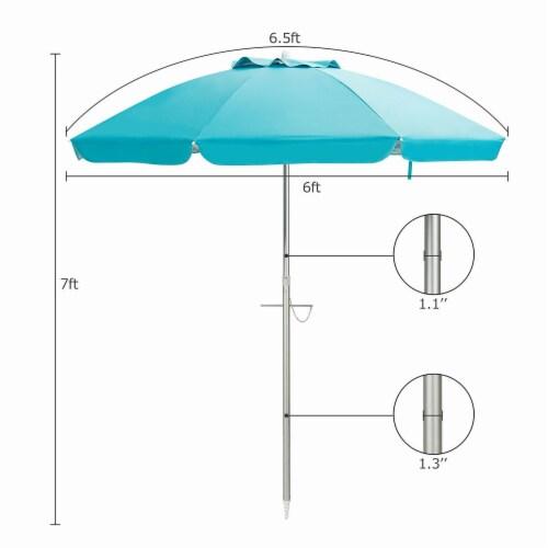 Costway 6.5FT Patio Beach Umbrella Sun Shade Tilt W/Carry Bag Blue Perspective: top