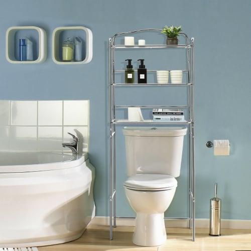 Costway 3-Tier Over The Toilet Bathroom Space Saver Metal Towel Rack Storage Organizer Perspective: top