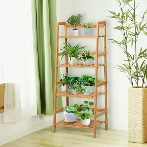Gymax 4-Tier Bamboo Ladder Shelf Multipurpose Plant Display Stand Storage Bookshelf Perspective: top