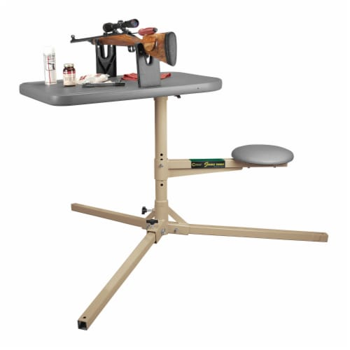 Caldwell 252552 The Stable Table with Ambidextrous Weatherproof Design and Seat Perspective: top