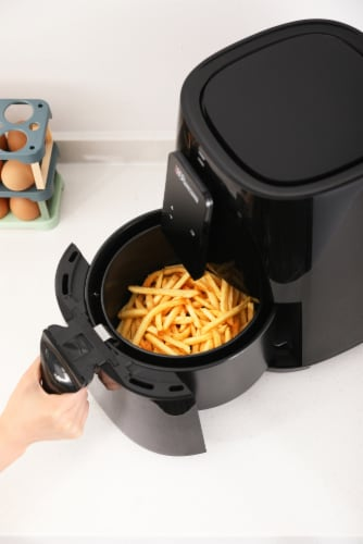 Uber Appliance Air Fryer XL Large 5 Qt Touch Display with 8 Pre-Set Functions, 5 quart, Black Perspective: top