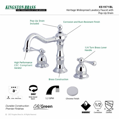 Kingston Brass KS1971BL 8 in. Widespread Bathroom Faucet, Polished Chrome Perspective: top
