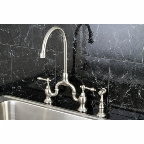 KS7798ALBS English Country Kitchen Bridge Faucet with Brass Sprayer, Brushed Nickel Perspective: top
