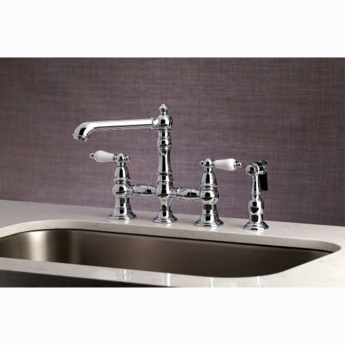 """KS7271PLBS English Country 8"""" Bridge Kitchen Faucet with Sprayer, Polished Chrome Perspective: top"""