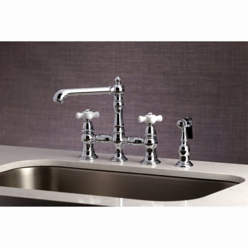 """KS7271PXBS English Country 8"""" Bridge Kitchen Faucet with Sprayer, Polished Chrome Perspective: top"""