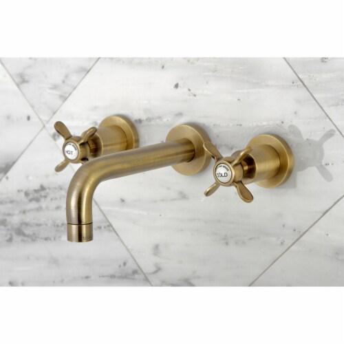 Kingston Brass KS8123BEX Essex 2-Handle 8 in. Wall Mount Bathroom Faucet, Antique Brass Perspective: top