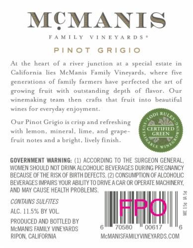 McManis Family Vineyards Pinot Grigio White Wine Perspective: top