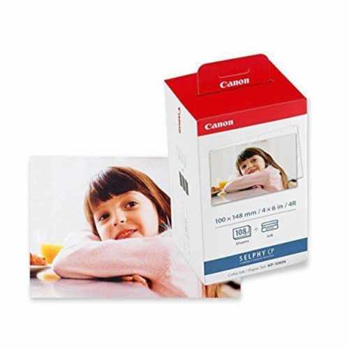 8x Canon Kp-108in Selphy Color Ink 4x6 Paper Set 3115b001 For Selphy Cp910 Cp900 Perspective: top