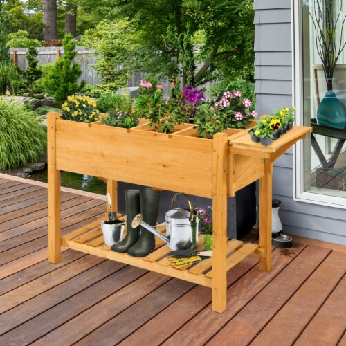 Gymax Raised Garden Bed Elevated Planter Box Kit w/8 Grids & Folding Tabletop Perspective: top