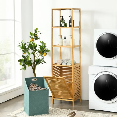 Gymax Bathroom Tilt-out Laundry Hamper Bamboo Tower Hamper w/3-Tier Shelves Perspective: top