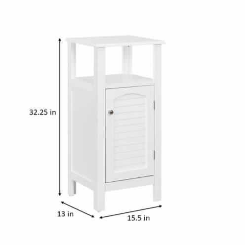 Elegant Home Fashions Wooden Bathroom Floor Cabinet & Shelf 1 Door White S0669 Perspective: top