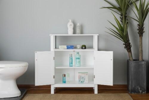 Elegant Home Fashions Wooden Bathroom Floor Cabinet & Shelf 2 Door White S0670 Perspective: top