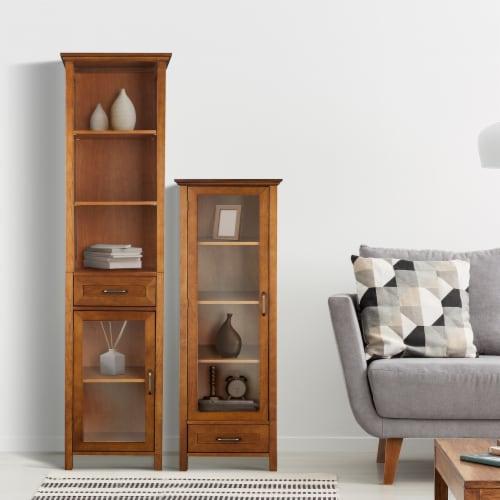 Elegant Home Fashions Wooden Bathroom Cabinet Linen & 1 Drawer Brown Oak ELG-544 Perspective: top