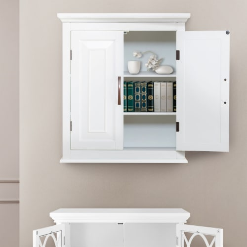 Elegant Home Fashions Wooden Bathroom Wall Cabinet 2 Door White St James ELG-590 Perspective: top