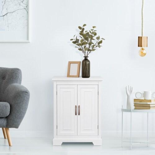Elegant Home Fashions Wooden Bathroom Floor Cabinet 2 Door White St James ELG-591 Perspective: top