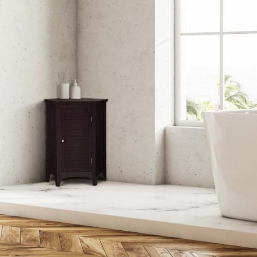 Elegant Home Fashions Wooden Bathroom Corner Cabinet Free Standing Brown ELG-596 Perspective: top