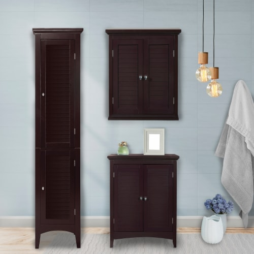 Elegant Home Fashions Wooden Bathroom Cabinet Standing Tall Unit Brown ELG-598 Perspective: top