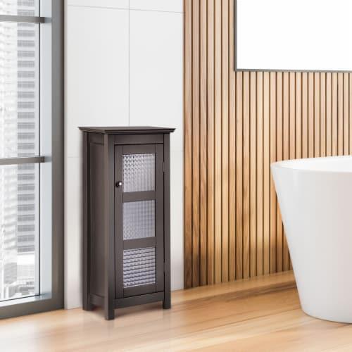 Elegant Home Fashions Wooden Bathroom Cabinet Floor & Glass Door Brown 6216 Perspective: top