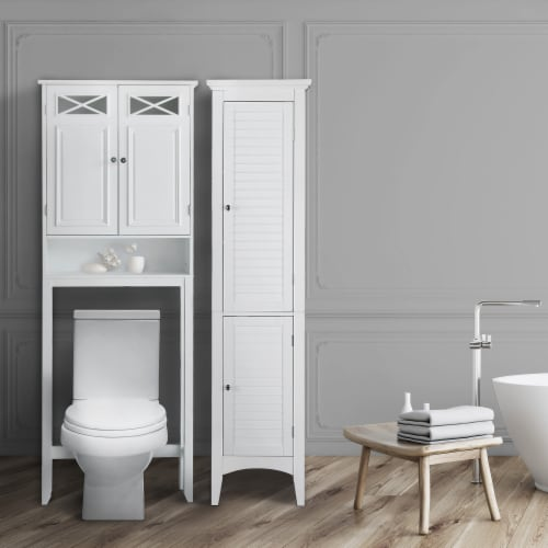 Elegant Home Fashions Bathroom Cabinet Over Toilet 2 Doors & Shelf White 6803 Perspective: top