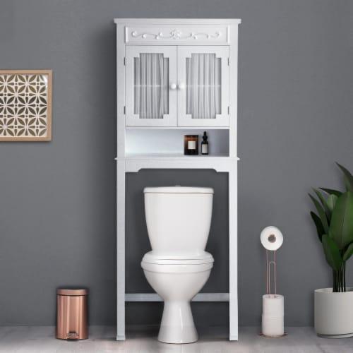 Elegant Home Fashions Bathroom Cabinet Over Toilet 2 Doors & Shelf White 7008 Perspective: top