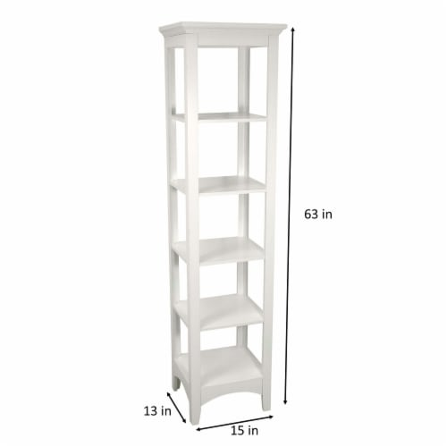 Elegant Home Fashions Wooden Bathroom Cabinet Linen Storage Standing White 7091 Perspective: top