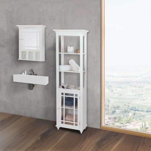 Elegant Home Fashions Neal 1-Door Medicine Cabinet in White Perspective: top