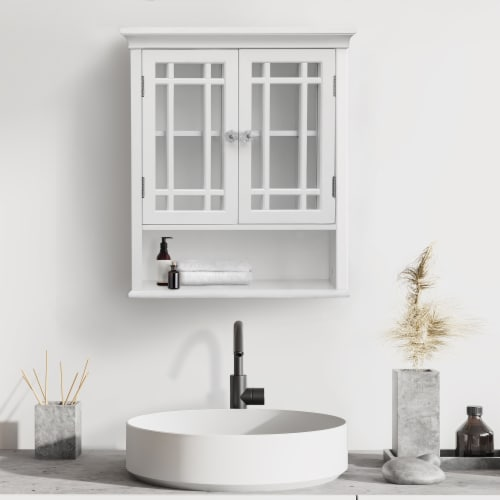 Elegant Home Fashions Wooden Bathroom Wall Cabinet 2 Doors Neal White 7473 Perspective: top