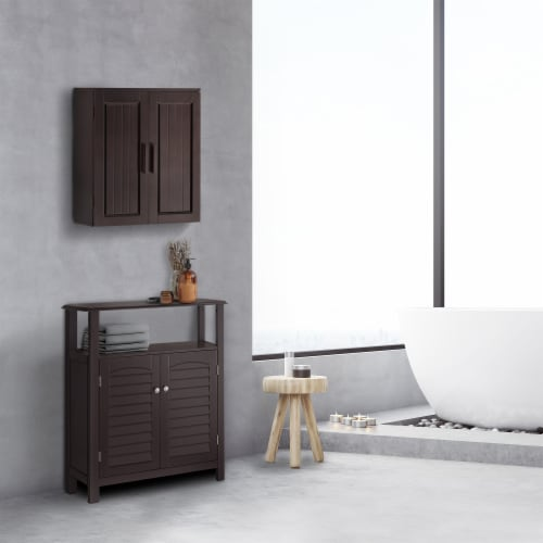 Elegant Home Fashions Wooden Bathroom Wall Cabinet 2 Doors Espresso Catalina 7695 Perspective: top