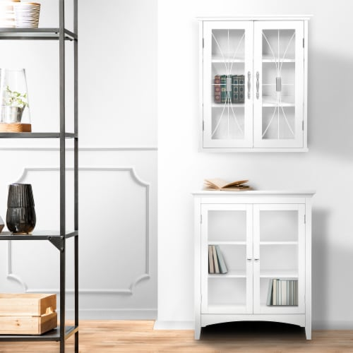 Elegant Home Fashions Delaney 2-Door Wall Cabinet in White Perspective: top