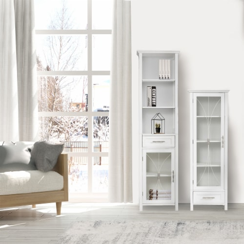 Elegant Home Fashions Delaney 65  1-Door Linen Cabinet in White Perspective: top