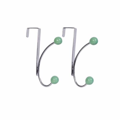 Elegant Home Fashions Single Hook Over The Door Hanger Pack of 2 Teal OTD-3812 Perspective: top