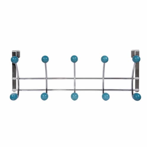Elegant Home Fashions Over the Door 10 Hooks Hangers Chrome Blue OTD-3815 Perspective: top