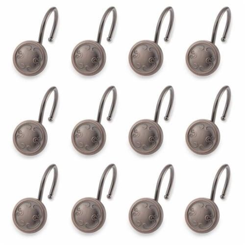 Elegant Home Fashions Bathroom Shower Curtain Hooks Set of 12 Bronze HK40108 Perspective: top