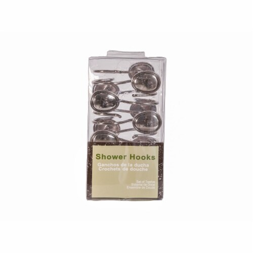 Elegant Home Fashions Bathroom Shower Curtain Hooks Set Brushed Nickel HK40172 Perspective: top