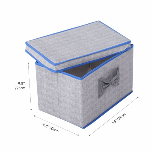Elegant Home Fashions Soft Storage Boxes Set Of 2 Lid & Handle Grey/Blue YN95092 Perspective: top