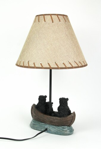 Set of 2 Black Bear Family Canoe Trip Table Lamps With Burlap Shades Lodge Decor Perspective: top