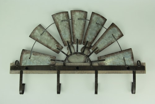 Half Metal Windmill Farmhouse Rooster Decorative Wood Wall Hook Rack Perspective: top