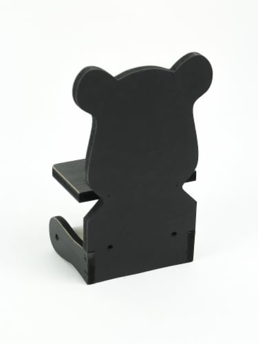 Whimsical Hand Painted Black Bear Wooden Toilet Paper Roll Holder With Phone Shelf Perspective: top