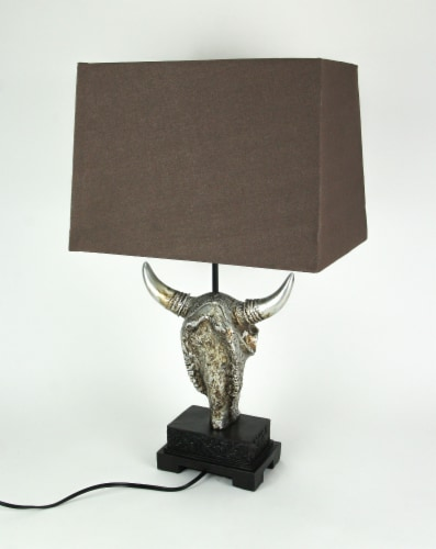 Ornately Carved Cow Skull Table Lamp with Brown Fabric Shade Perspective: top