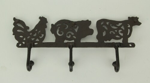 Rustic Brown Cast Iron Pig Rooster Cow Triple Wall Hook Rack Farmhouse Decor Perspective: top