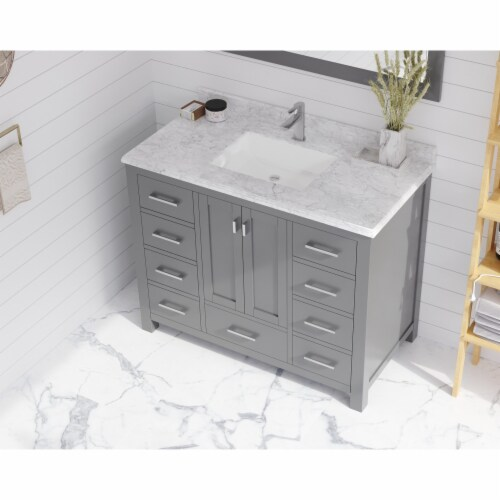 """White Carrara Marble Countertop - 42"""" - Single Hole with Rectangular Sink Perspective: top"""