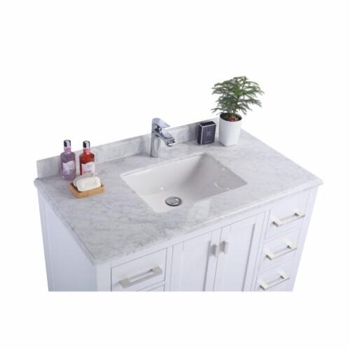Wilson 42 - White Cabinet + White Carrara Marble Countertop Perspective: top