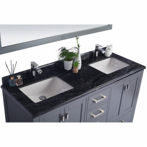 Wilson 60 - Grey Cabinet + Black Wood Marble Countertop Perspective: top