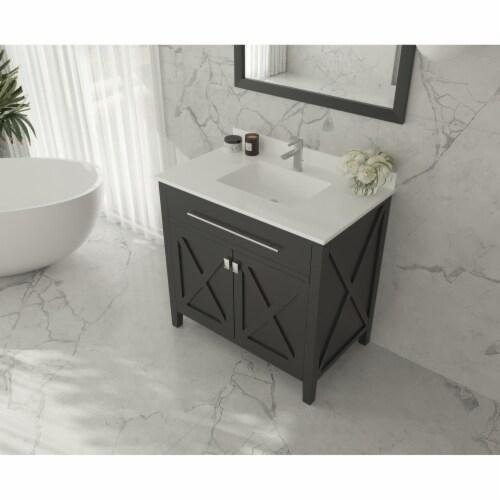 Wimbledon - 36 - Espresso Cabinet + White Quartz Countertop Perspective: top