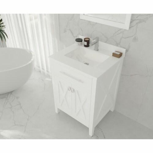 Wimbledon - 24 - White Cabinet + White Quartz Countertop Perspective: top