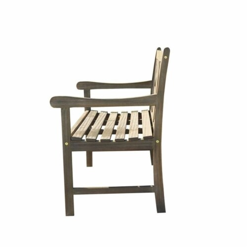 Wood Outdoor Bench in Natural Brown-Pemberly Row Perspective: top