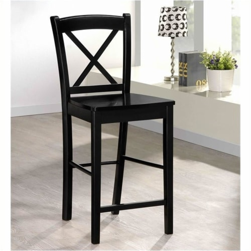 Pemberly Row 30  Bar Stool in Black and Rich Espresso Perspective: top