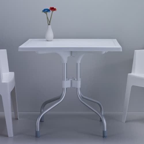 Atlin Designs 31  Square Folding Dining Table in White Perspective: top